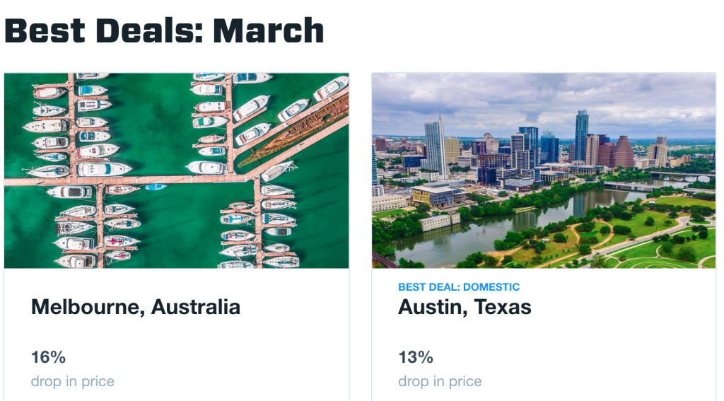 cheap flights in march