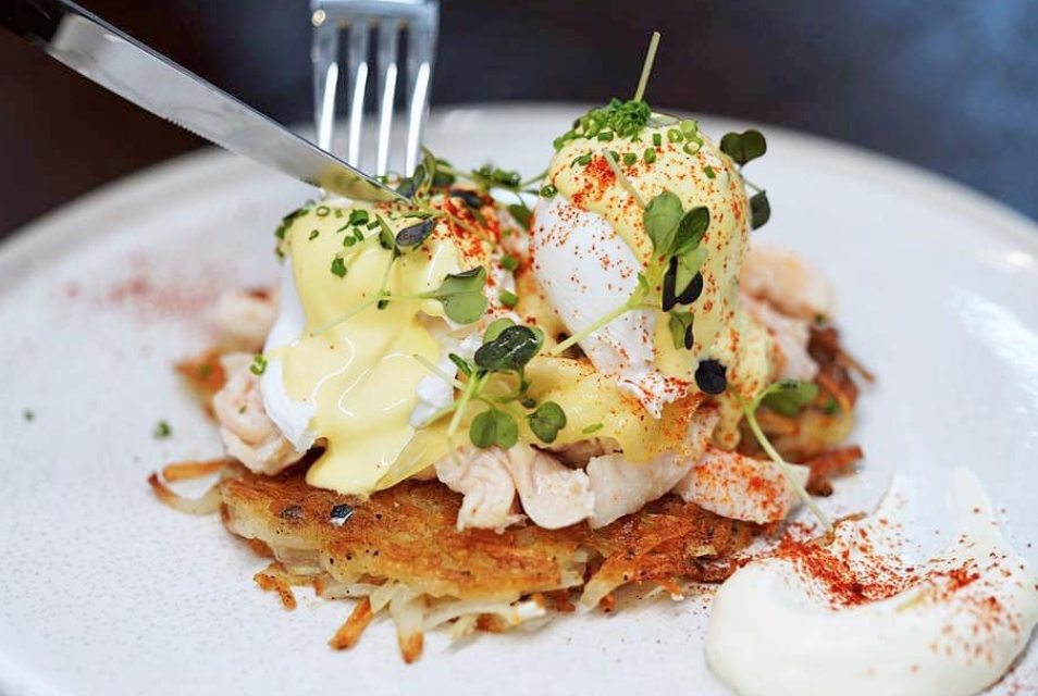 Eggs Benny with Chicken Rosti