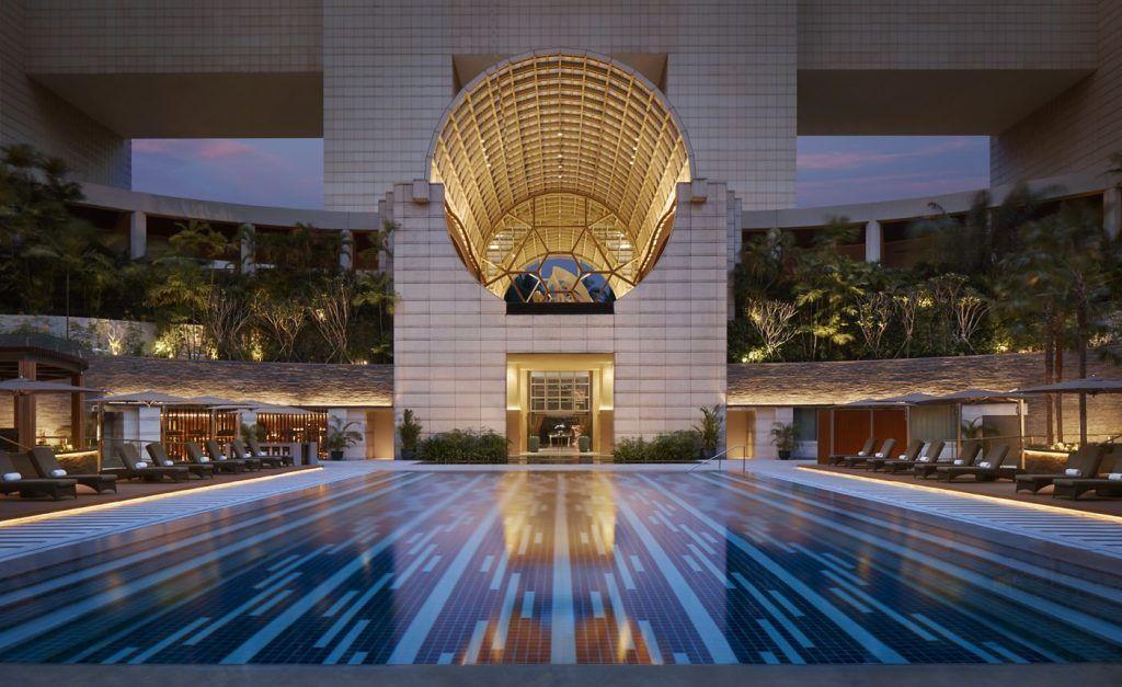 Floodlit Swimming Pool at Ritz-Carlton