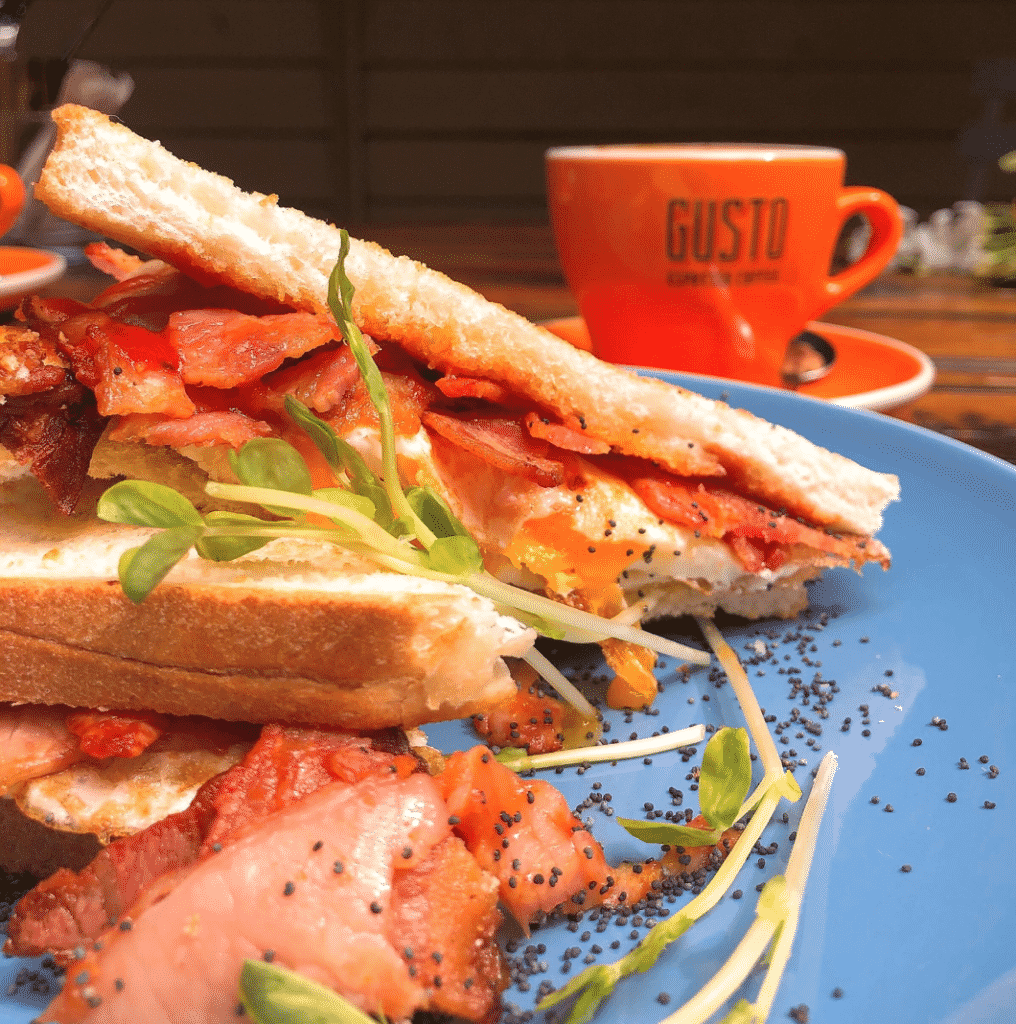 Bacon and free range egg toasted sandwich