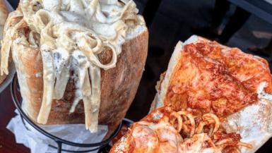 Pasta stuffed sandwich