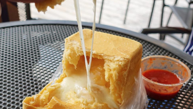 Cube Shaped Bread Stuffed With Cheese
