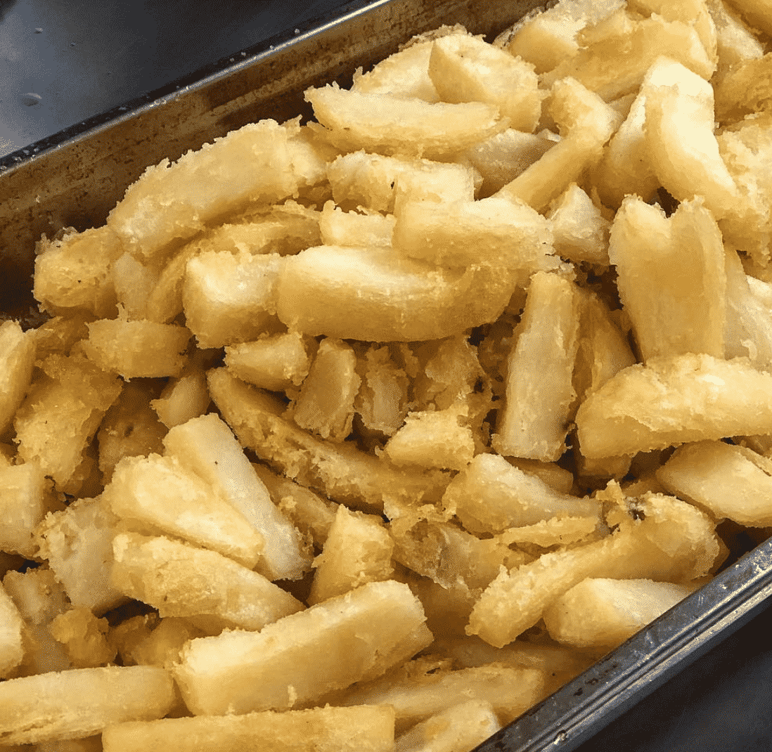 Fluffy triple-cooked chips in England