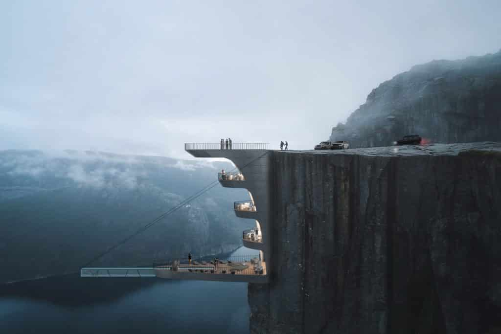 Preikestolen hotel cliff in Norway