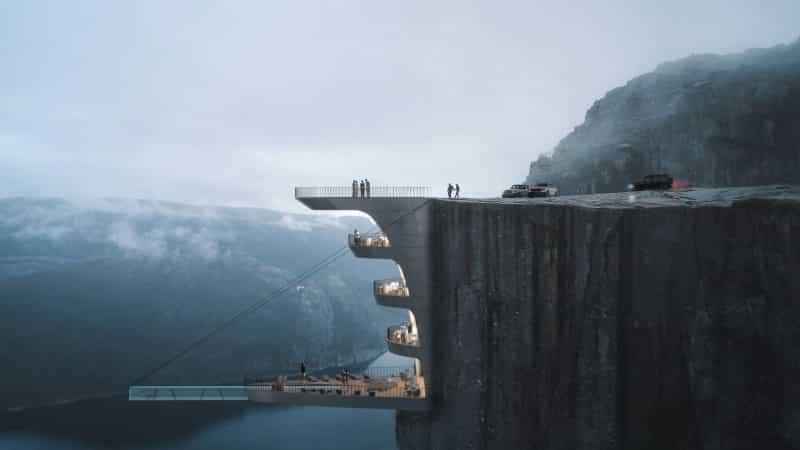 Preikestolen hotel cliff in Norway