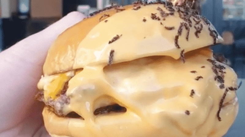 Burgers Dipped In Cheese Sauce