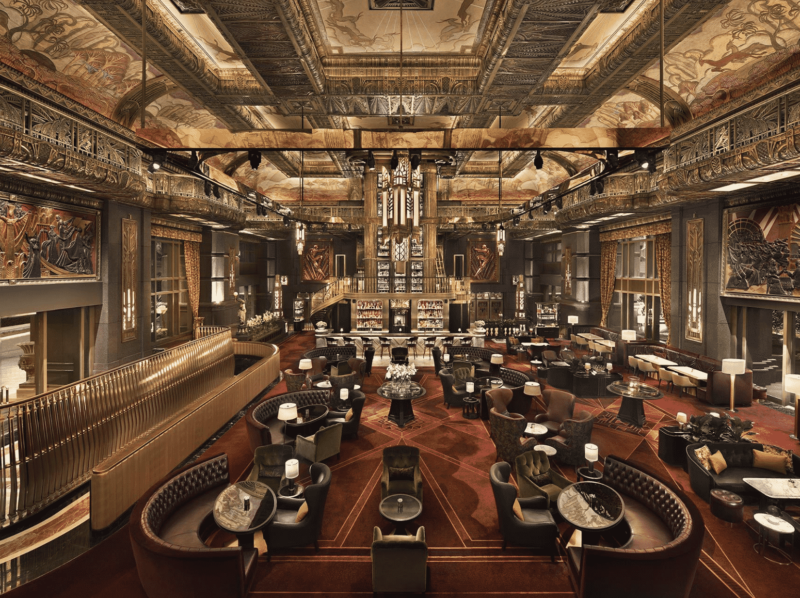A grand lobby and bar in ATLAS