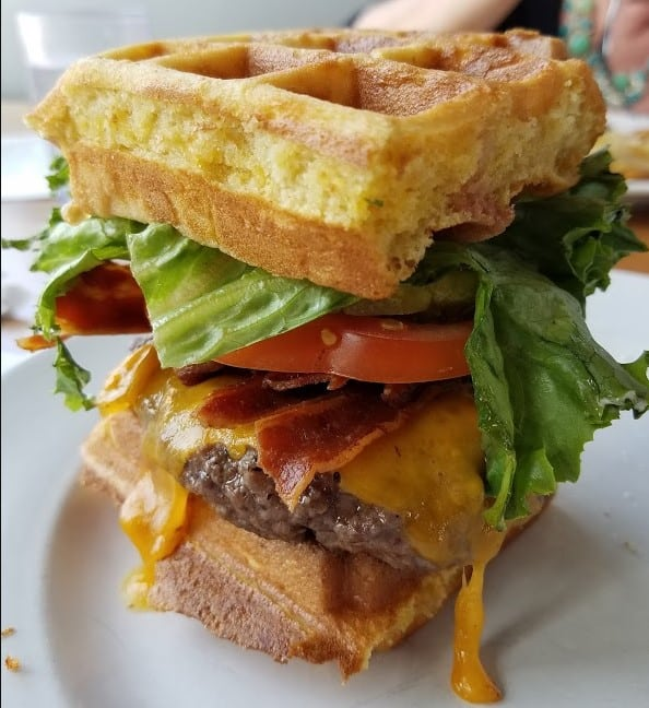 Iron Rooster Waffle Burger