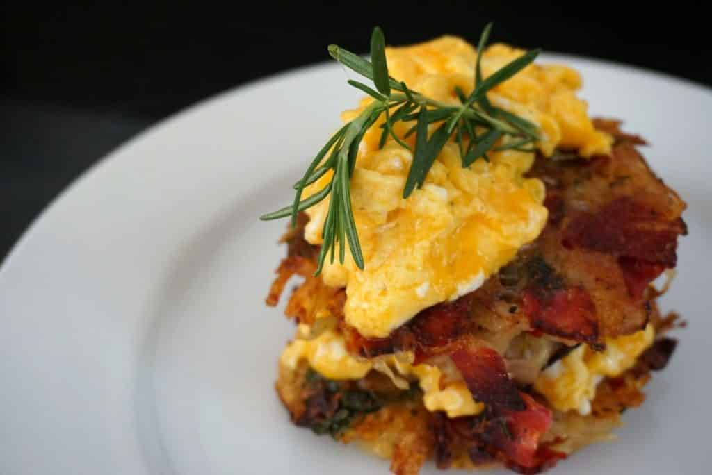 rosti with cheesy eggs