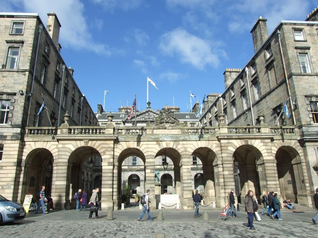 Edinburgh City Chambers where JK Rowlings handprints are displayed