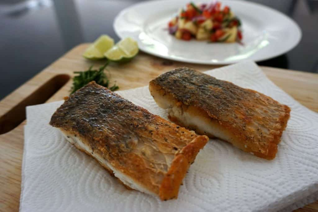 Panfried Sea Bass salsa