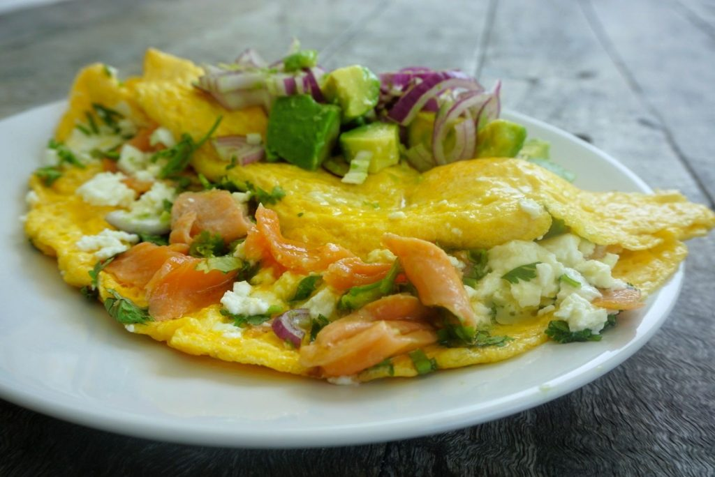 Open Smoked Salmon Omelette