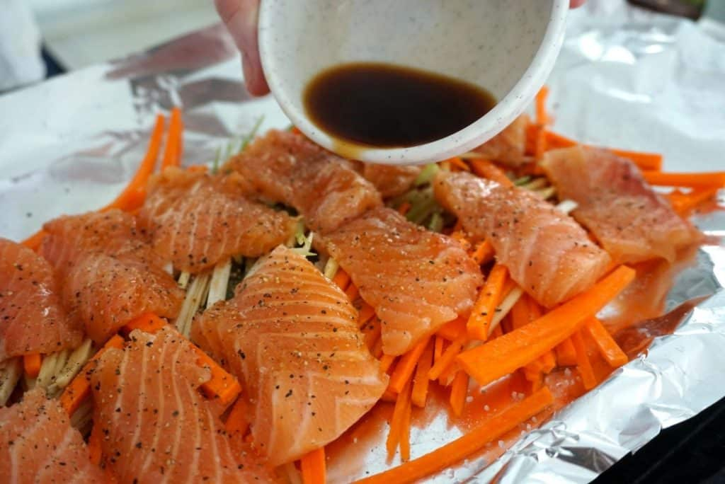salmon and ginger noodles