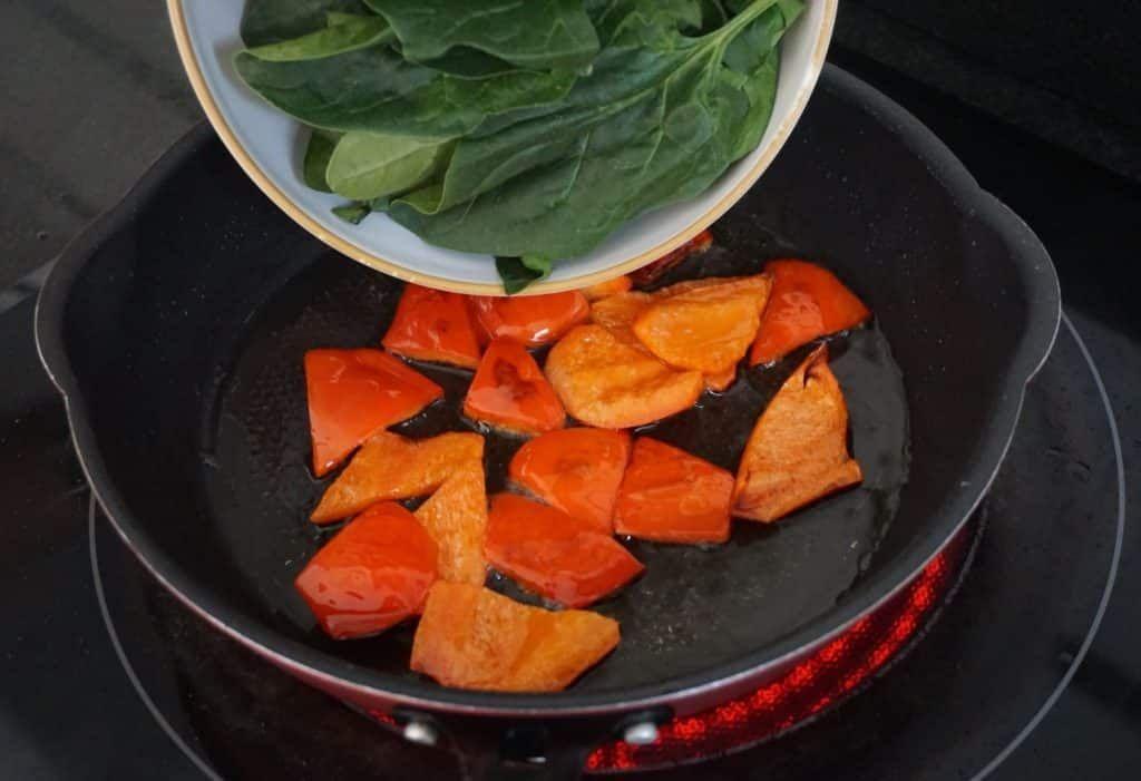 Rainbow Roasted Vegetables spinach