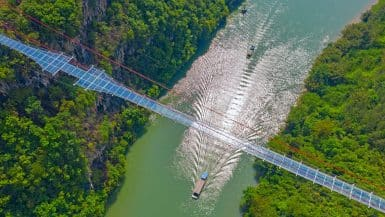 glass bridge in China.