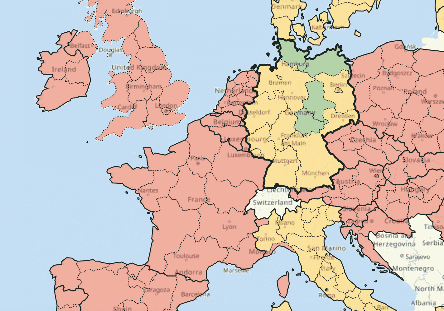 travel restrictions Europe map