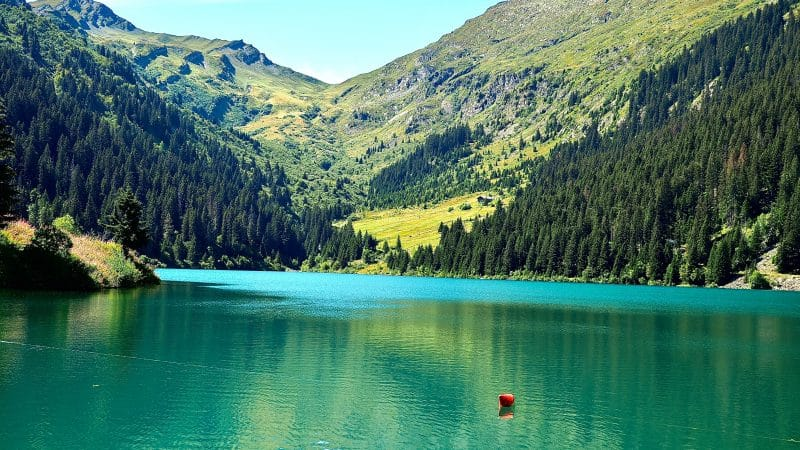 Green lake with green trees and mountains in the background. Lac st Guérin in France