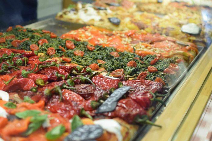 Roman pizza in a shop window