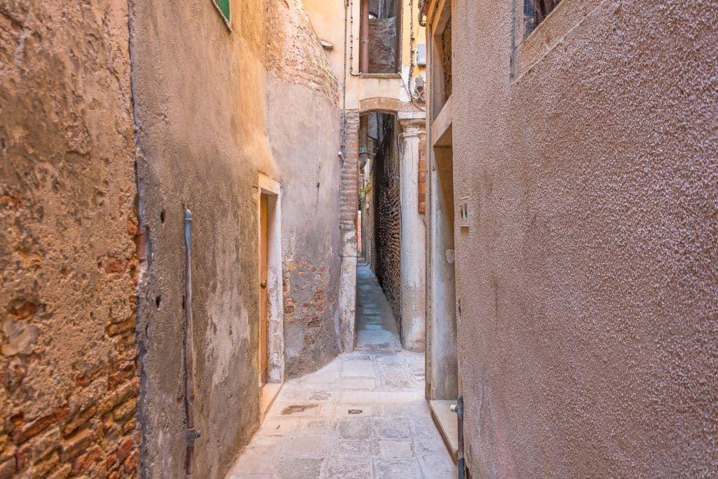 The narrow streets of Venice